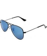RayBan Junior Rj9506s 50 aviatore nero opaco 201-55 gli occhiali da sole a specchio blu
