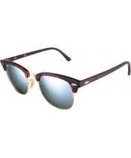 RayBan RB3016 Clubmaster 51 sabbia tartaruga-oro degli occhiali da sole a specchio argento 114530