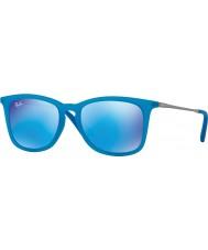 RayBan Junior Rj9063s 48 azzurro fluo trasparenti gomma 701155 occhiali da sole a specchio