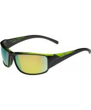 Bolle verde smeraldo occhiali da sole Keelback lucide nere polarizzate marrone