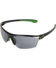 Cebe Cinetik grandi occhiali da sole verde nero lucido
