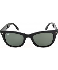 RayBan RB4105 50 pieghevole Wayfarer neri 601-58 occhiali da sole polarizzati