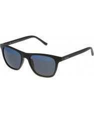 Police Mens caldo 1 s1936v-u28b nero opaco occhiali a specchio blu