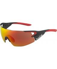 Bolle 5 ° elemento pro lucido opaco carbonio occhiali da sole TNS rosso fuoco