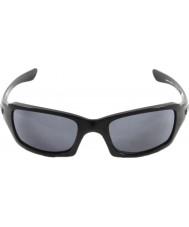 Oakley Oo9238-04 cinque quadrati lucido nero - occhiali da sole grigio
