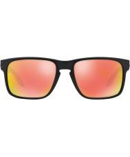 Oakley Oo9102-51 Holbrook nero opaco - rubino Iridium occhiali da sole polarizzati
