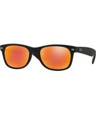 RayBan RB2132 52 nuovi gomma Wayfarer neri 622-69 gli occhiali da sole a specchio rossi