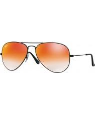 RayBan RB3025 55 aviatore grande metallo lucido 002-4w occhiali da sole a specchio rosso nero