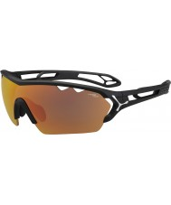 Cebe S-traccia mono grande nero opaco 1500 occhiali da sole specchio grigio arancio con lenti di ricambio chiaro