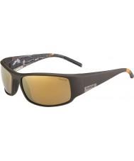 Bolle Re opaca mare marrone occhiali da sole polarizzati oro interne