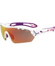 Cebe S-traccia mono medie bianche rosa 1500 occhiali da sole specchio grigio rosa lucido con lente di ricambio chiaro