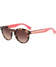 Fendi Colore blocco FF 0085-s hk3 D8 occhiali da sole rosa avana