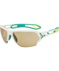 Cebe S-track occhiali da sole di grandi dimensioni bianco opaco turchese variochrom Perfo con 500 lente di ricambio chiaro