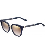 Jimmy Choo Donne KCA nh blu scintillanti specchio d'oro degli occhiali da sole di s-Fabry