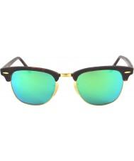 RayBan RB3016 Clubmaster 51 sabbia tartaruga-oro 114519 occhiali da sole a specchio verde