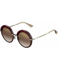 Jimmy Choo Donna Gotha-S 65L QH occhiali da sole a specchio bordeaux oro