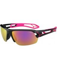 Cebe S-track medio lucidi magenta nero 1500 occhiali da sole a specchio grigio rosa con lente di ricambio chiaro